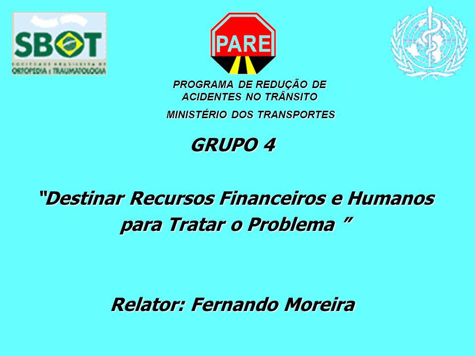 PROGRAMA DE REDUÇÃO DE ACIDENTES NO TRÂNSITO MINISTÉRIO DOS TRANSPORTES MINISTÉRIO DOS TRANSPORTES GRUPO 4 Destinar Recursos Financeiros e Humanos Des