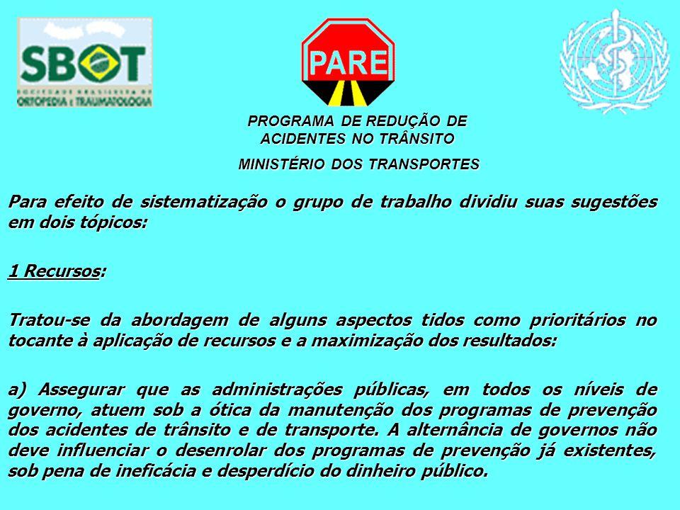 PROGRAMA DE REDUÇÃO DE ACIDENTES NO TRÂNSITO MINISTÉRIO DOS TRANSPORTES MINISTÉRIO DOS TRANSPORTES Para efeito de sistematização o grupo de trabalho d