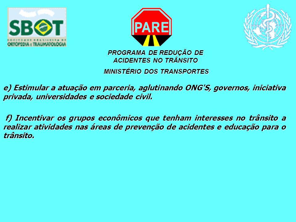 PROGRAMA DE REDUÇÃO DE ACIDENTES NO TRÂNSITO MINISTÉRIO DOS TRANSPORTES MINISTÉRIO DOS TRANSPORTES e) Estimular a atuação em parceria, aglutinando ONG