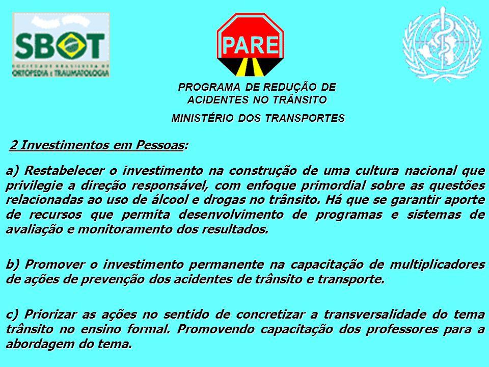 PROGRAMA DE REDUÇÃO DE ACIDENTES NO TRÂNSITO MINISTÉRIO DOS TRANSPORTES MINISTÉRIO DOS TRANSPORTES 2 Investimentos em Pessoas: 2 Investimentos em Pess