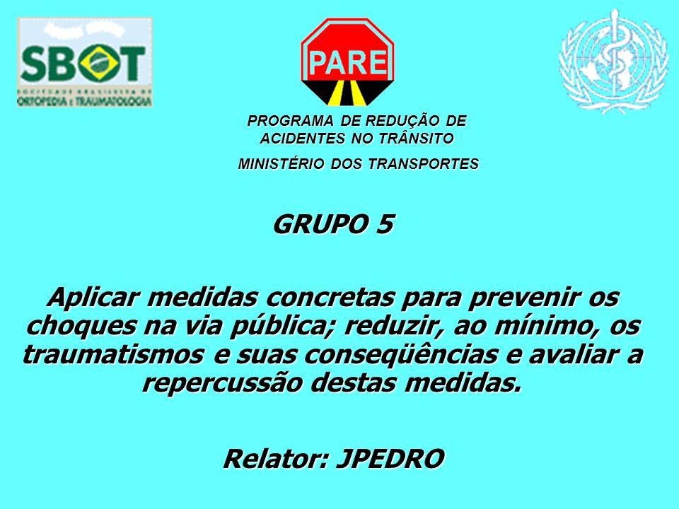 PROGRAMA DE REDUÇÃO DE ACIDENTES NO TRÂNSITO MINISTÉRIO DOS TRANSPORTES MINISTÉRIO DOS TRANSPORTES GRUPO 5 Aplicar medidas concretas para prevenir os