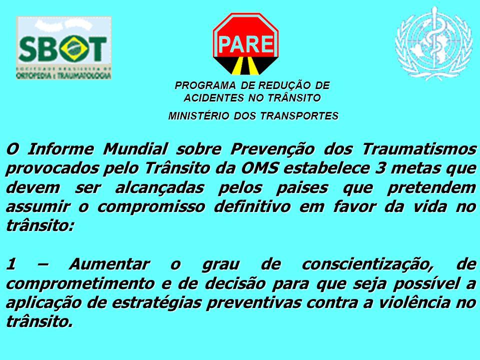 PROGRAMA DE REDUÇÃO DE ACIDENTES NO TRÂNSITO MINISTÉRIO DOS TRANSPORTES MINISTÉRIO DOS TRANSPORTES O Informe Mundial sobre Prevenção dos Traumatismos