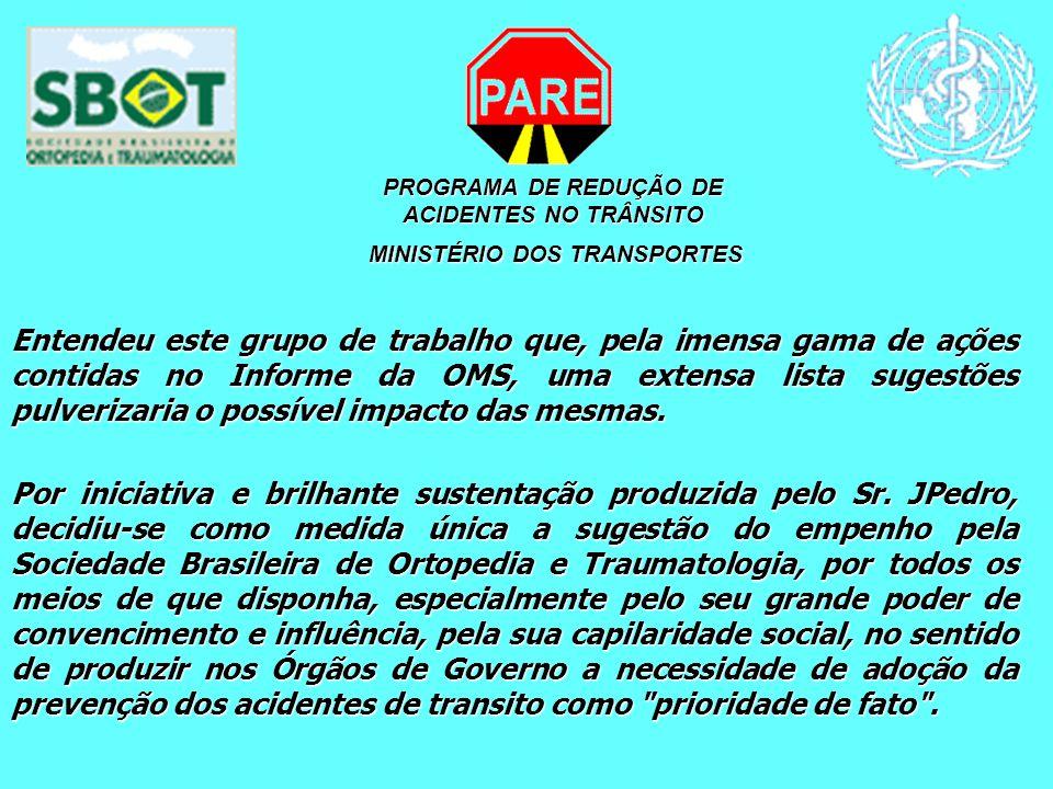 PROGRAMA DE REDUÇÃO DE ACIDENTES NO TRÂNSITO MINISTÉRIO DOS TRANSPORTES MINISTÉRIO DOS TRANSPORTES Entendeu este grupo de trabalho que, pela imensa ga