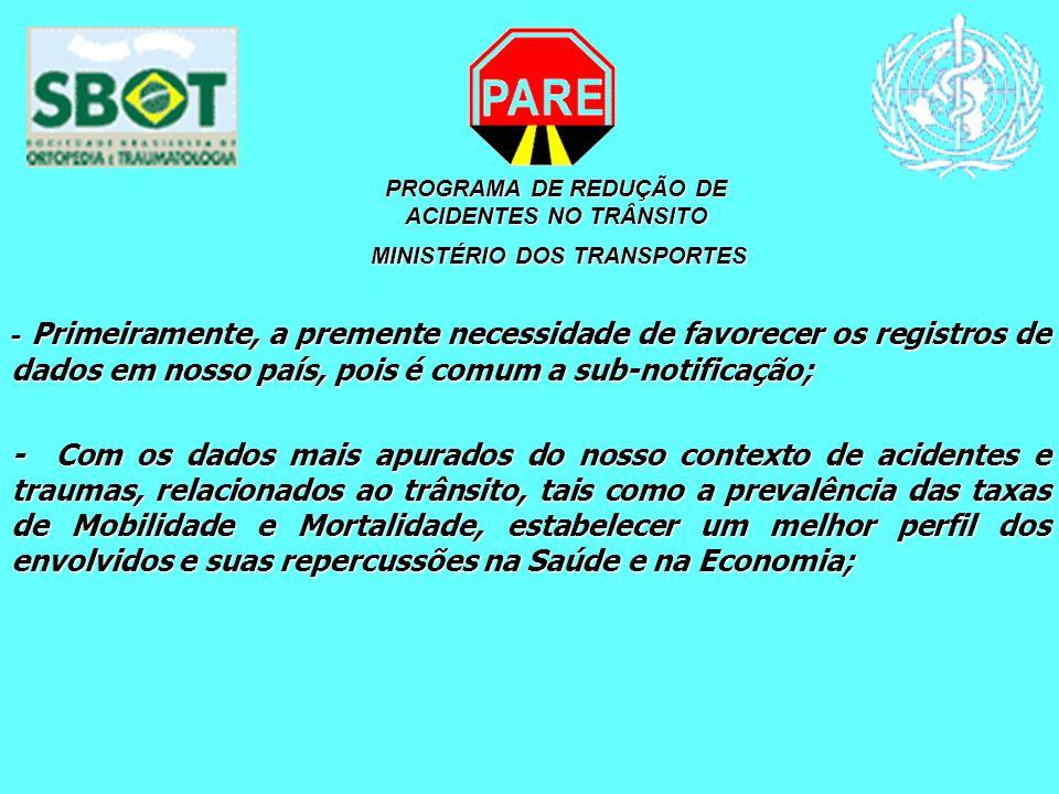 PROGRAMA DE REDUÇÃO DE ACIDENTES NO TRÂNSITO MINISTÉRIO DOS TRANSPORTES MINISTÉRIO DOS TRANSPORTES - Primeiramente, a premente necessidade de favorece