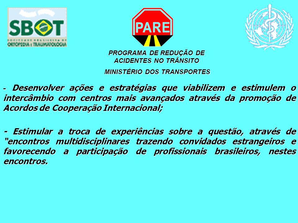 PROGRAMA DE REDUÇÃO DE ACIDENTES NO TRÂNSITO MINISTÉRIO DOS TRANSPORTES MINISTÉRIO DOS TRANSPORTES - Desenvolver ações e estratégias que viabilizem e