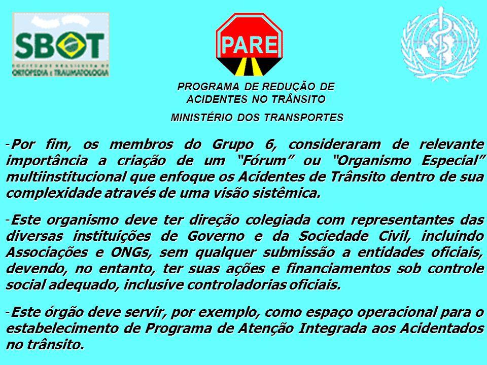 PROGRAMA DE REDUÇÃO DE ACIDENTES NO TRÂNSITO MINISTÉRIO DOS TRANSPORTES MINISTÉRIO DOS TRANSPORTES -Por fim, os membros do Grupo 6, consideraram de re