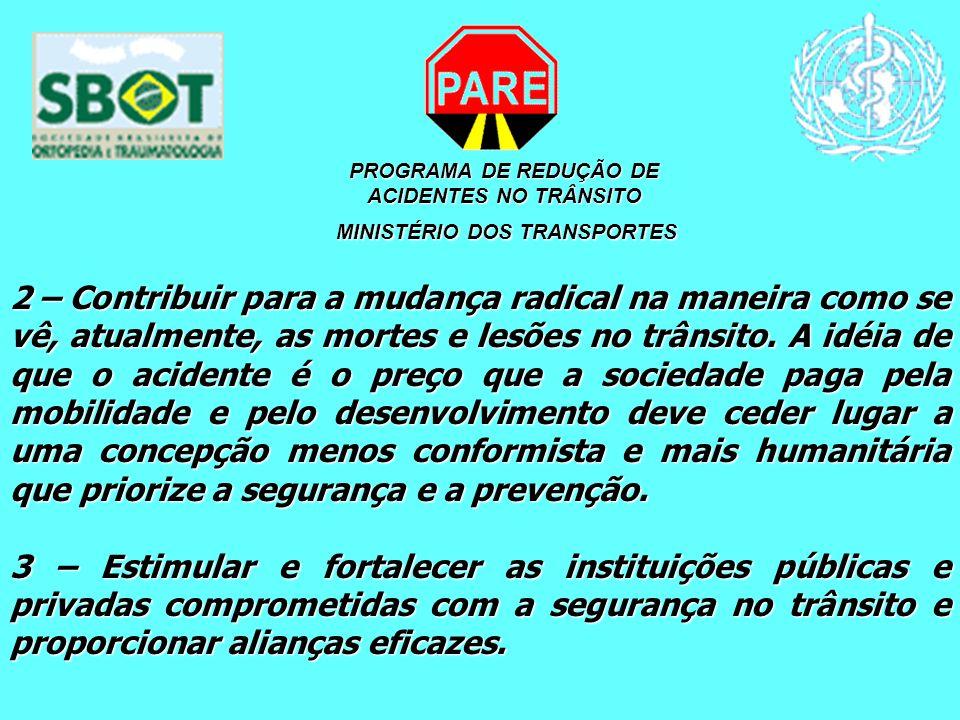 PROGRAMA DE REDUÇÃO DE ACIDENTES NO TRÂNSITO MINISTÉRIO DOS TRANSPORTES MINISTÉRIO DOS TRANSPORTES 2 – Contribuir para a mudança radical na maneira co