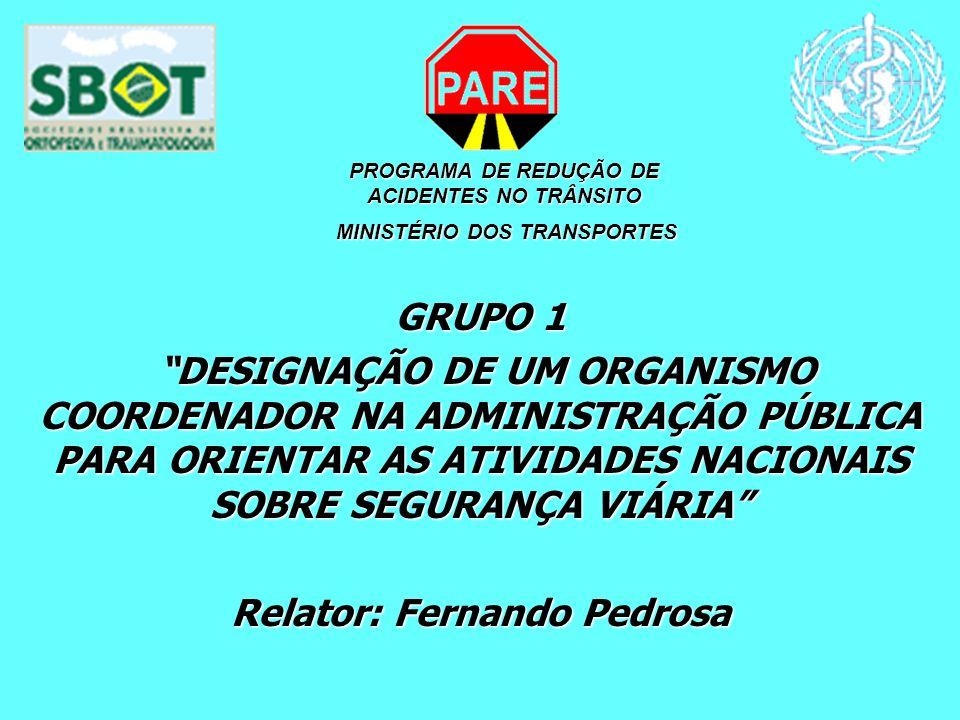 GRUPO 1 DESIGNAÇÃO DE UM ORGANISMO COORDENADOR NA ADMINISTRAÇÃO PÚBLICA PARA ORIENTAR AS ATIVIDADES NACIONAIS SOBRE SEGURANÇA VIÁRIA DESIGNAÇÃO DE UM