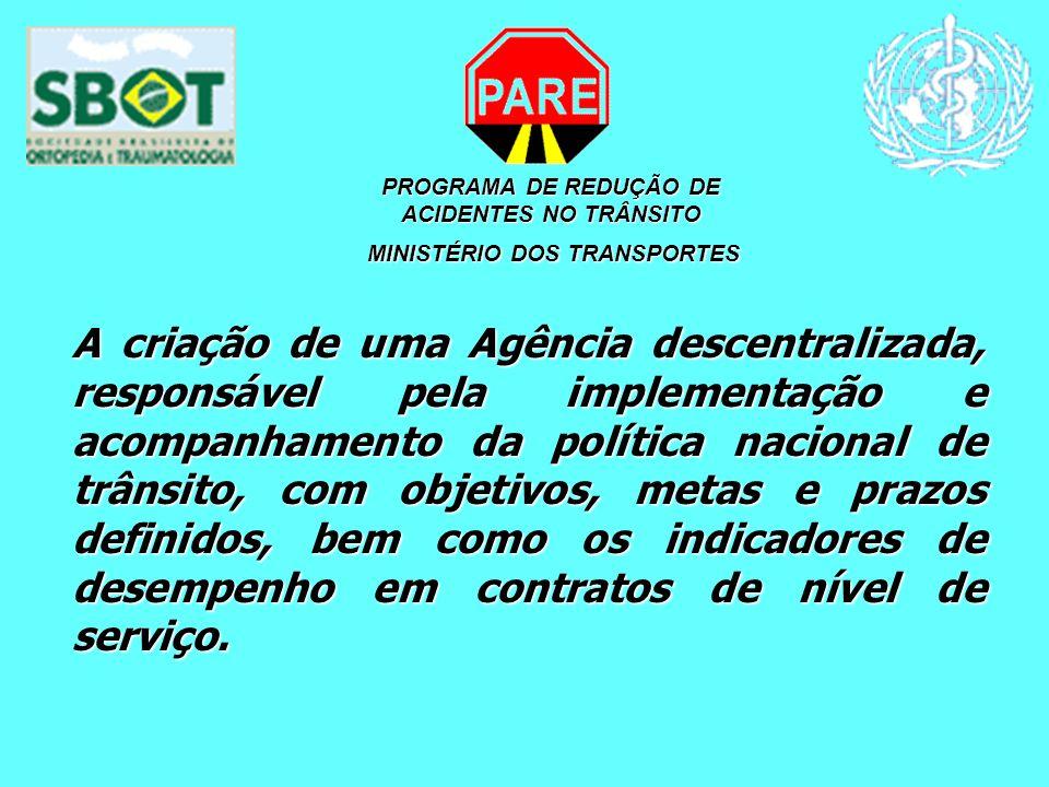 PROGRAMA DE REDUÇÃO DE ACIDENTES NO TRÂNSITO MINISTÉRIO DOS TRANSPORTES MINISTÉRIO DOS TRANSPORTES A criação de uma Agência descentralizada, responsáv