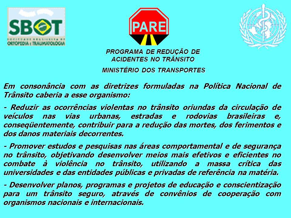 PROGRAMA DE REDUÇÃO DE ACIDENTES NO TRÂNSITO MINISTÉRIO DOS TRANSPORTES MINISTÉRIO DOS TRANSPORTES Em consonância com as diretrizes formuladas na Polí
