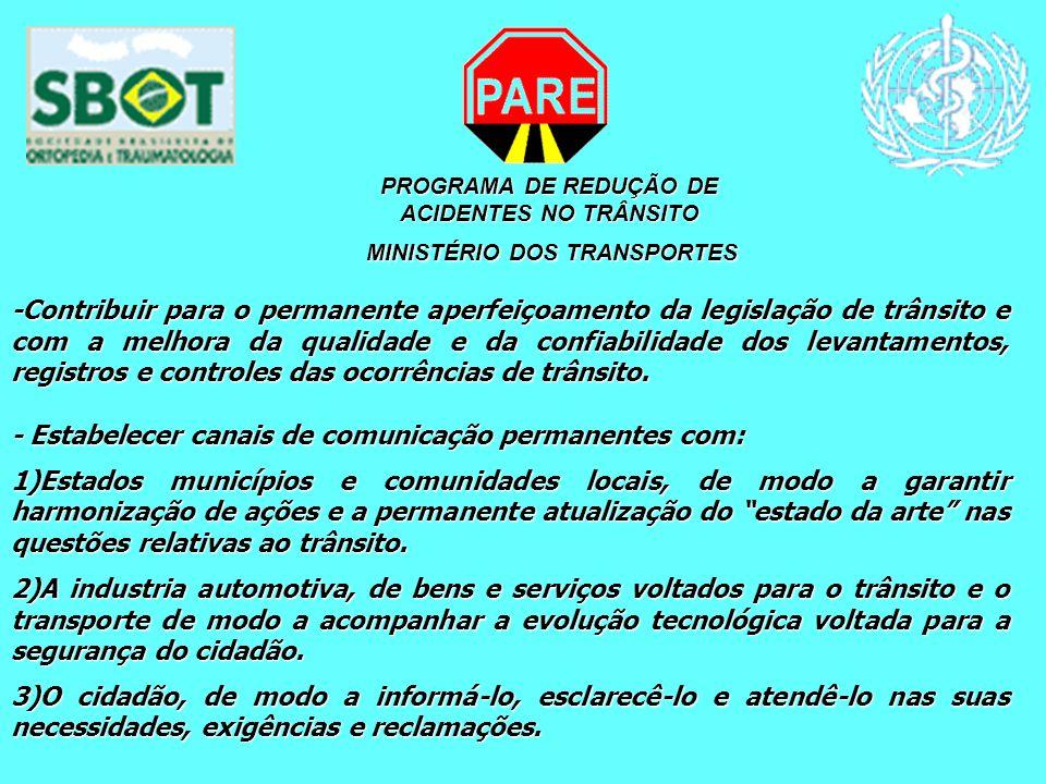 PROGRAMA DE REDUÇÃO DE ACIDENTES NO TRÂNSITO MINISTÉRIO DOS TRANSPORTES MINISTÉRIO DOS TRANSPORTES -Contribuir para o permanente aperfeiçoamento da le