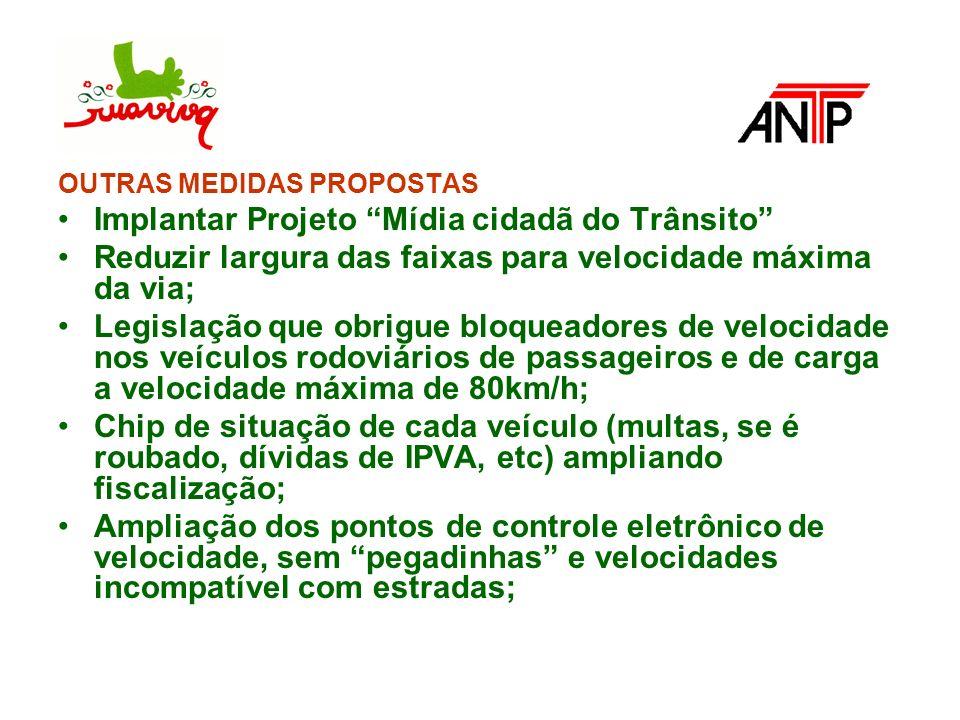 OUTRAS MEDIDAS PROPOSTAS Implantar Projeto Mídia cidadã do Trânsito Reduzir largura das faixas para velocidade máxima da via; Legislação que obrigue b