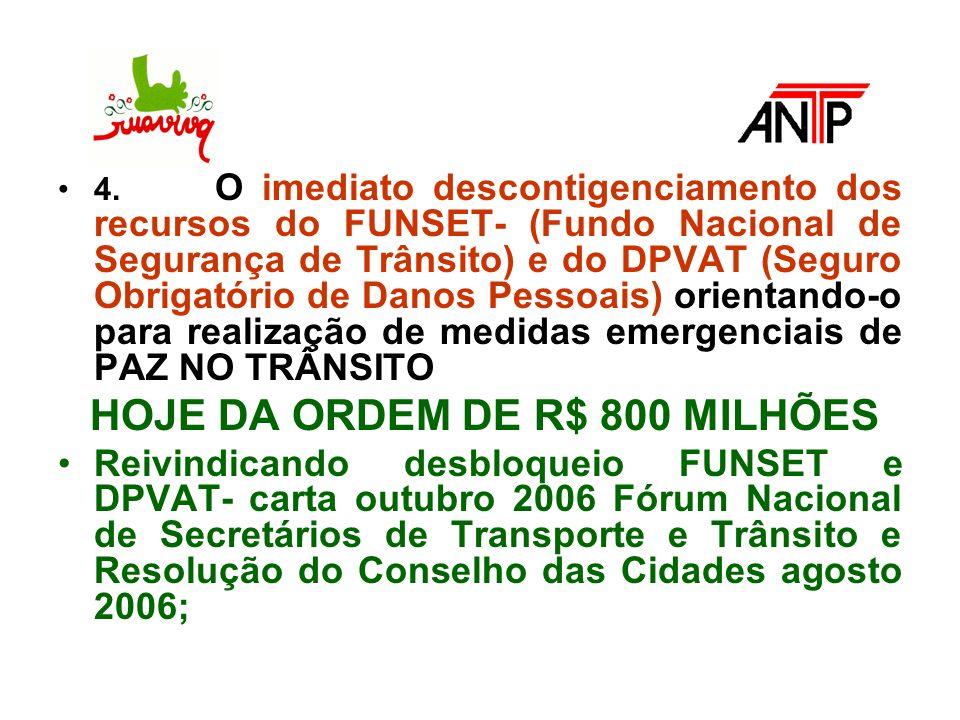 4. O imediato descontigenciamento dos recursos do FUNSET- (Fundo Nacional de Segurança de Trânsito) e do DPVAT (Seguro Obrigatório de Danos Pessoais)