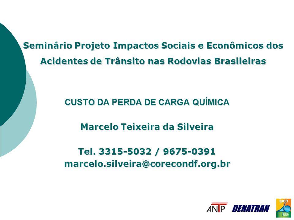 Seminário Projeto Impactos Sociais e Econômicos dos Acidentes de Trânsito nas Rodovias Brasileiras CUSTO DA PERDA DE CARGA QUÍMICA Marcelo Teixeira da Silveira Tel.