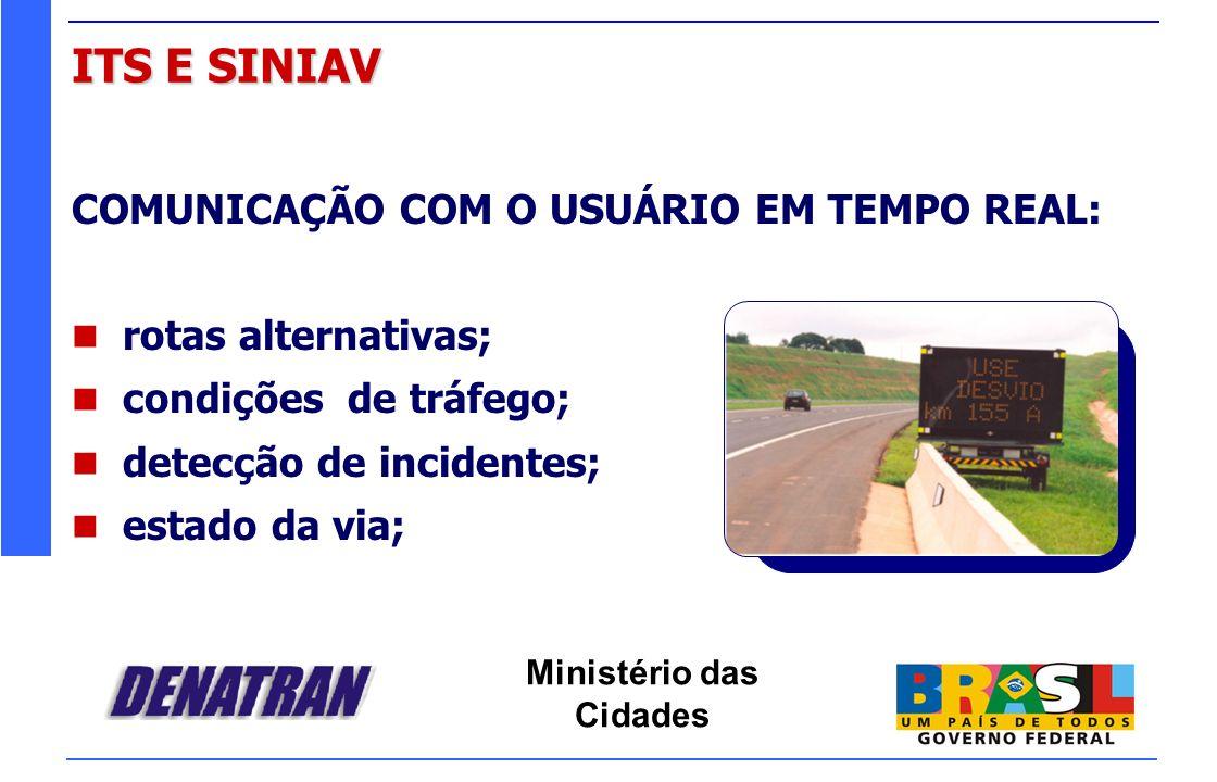 Ministério das Cidades ITS E SINIAV COMUNICAÇÃO COM O USUÁRIO EM TEMPO REAL: rotas alternativas; condições de tráfego; detecção de incidentes; estado
