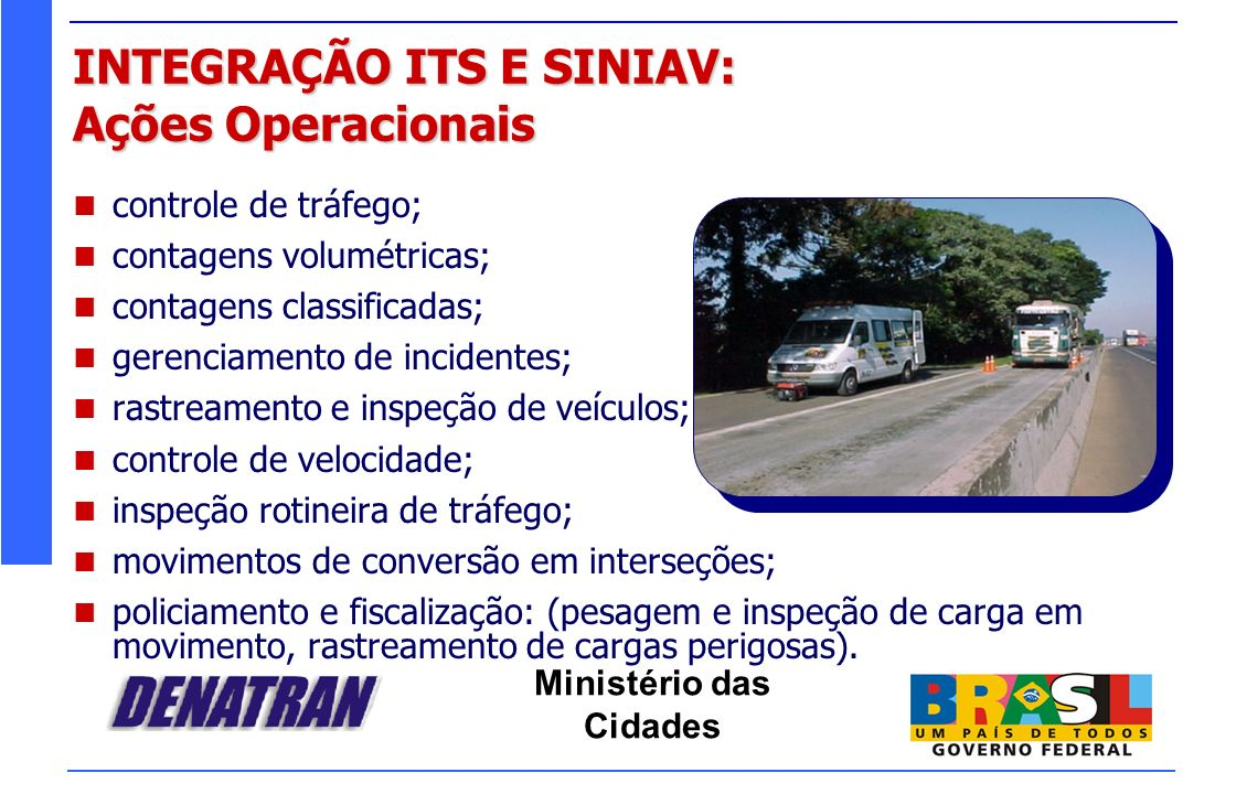 Ministério das Cidades INTEGRAÇÃO ITS E SINIAV: Ações Operacionais controle de tráfego; contagens volumétricas; contagens classificadas; gerenciamento