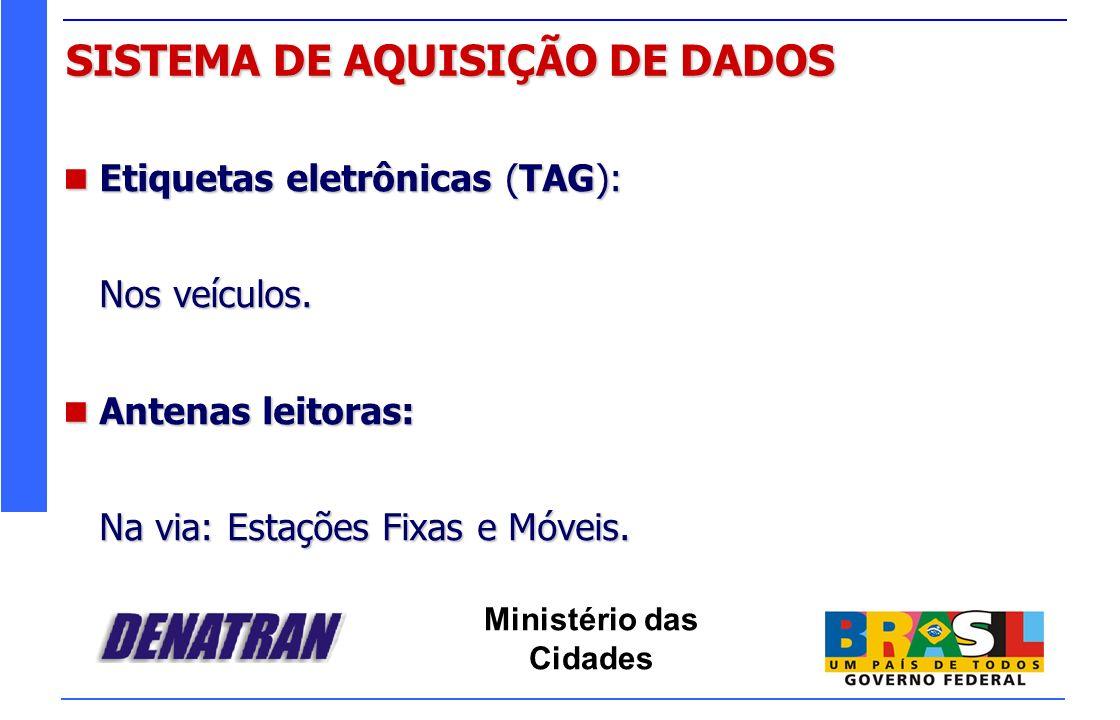 Ministério das Cidades SISTEMA DE AQUISIÇÃO DE DADOS Etiquetas eletrônicas (TAG): Etiquetas eletrônicas (TAG): Nos veículos. Antenas leitoras: Antenas