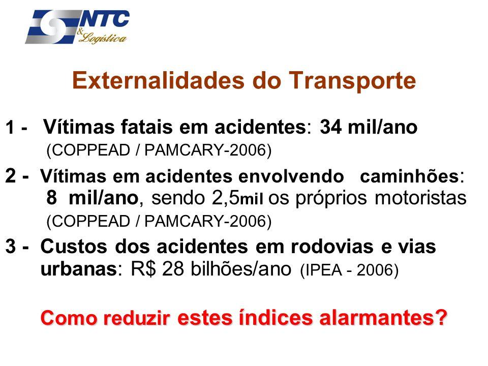 1 - Vítimas fatais em acidentes: 34 mil/ano (COPPEAD / PAMCARY-2006) 2 - Vítimas em acidentes envolvendo caminhões : 8 mil/ano, sendo 2,5 mil os própr