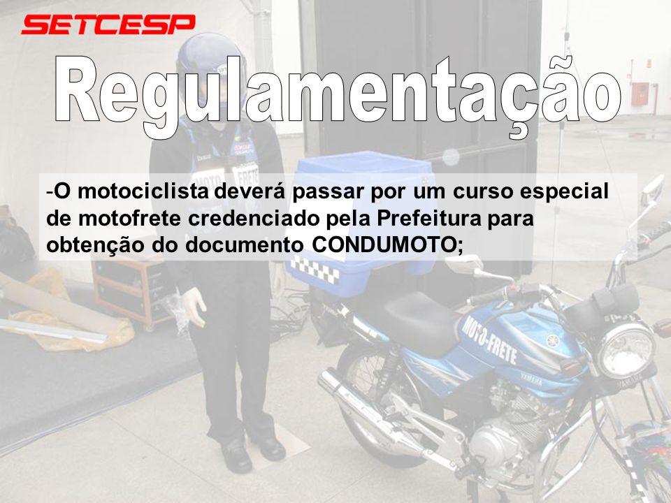 -O motociclista deverá passar por um curso especial de motofrete credenciado pela Prefeitura para obtenção do documento CONDUMOTO;