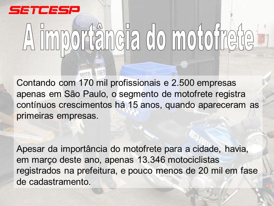 Contando com 170 mil profissionais e 2.500 empresas apenas em São Paulo, o segmento de motofrete registra contínuos crescimentos há 15 anos, quando ap