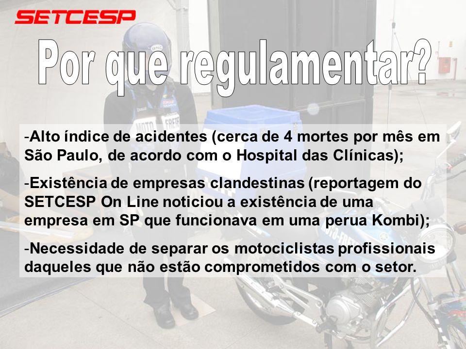-Alto índice de acidentes (cerca de 4 mortes por mês em São Paulo, de acordo com o Hospital das Clínicas); -Existência de empresas clandestinas (repor