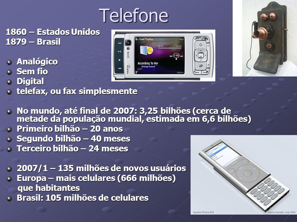 Telefone 1860 – Estados Unidos 1879 – Brasil Analógico Sem fio Digital telefax, ou fax simplesmente No mundo, até final de 2007: 3,25 bilhões (cerca d