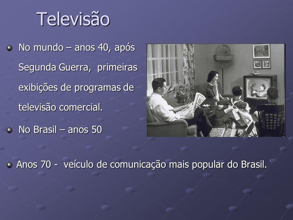 Televisão No mundo – anos 40, após Segunda Guerra, primeiras exibições de programas de televisão comercial. No Brasil – anos 50 Anos 70 - veículo de c