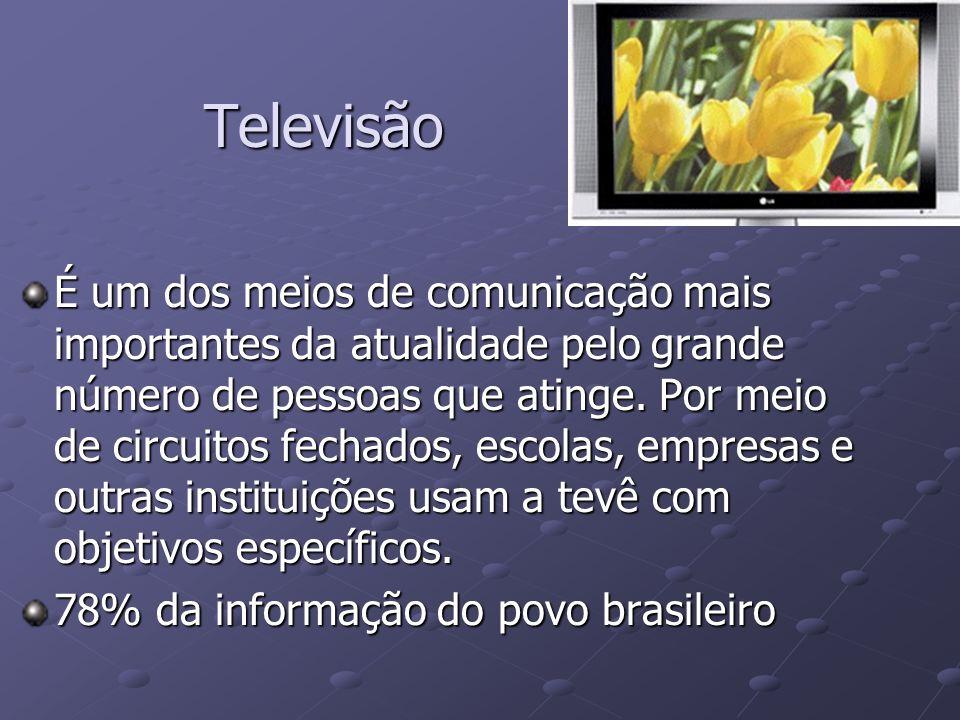 Televisão É um dos meios de comunicação mais importantes da atualidade pelo grande número de pessoas que atinge. Por meio de circuitos fechados, escol