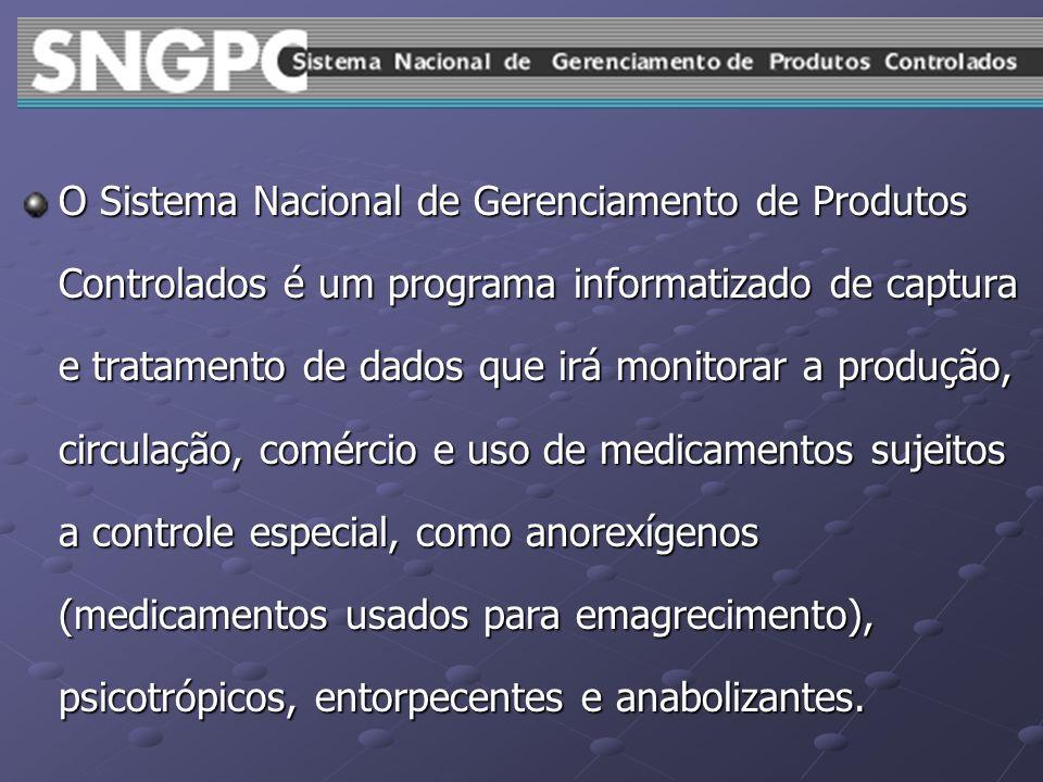 O Sistema Nacional de Gerenciamento de Produtos Controlados é um programa informatizado de captura e tratamento de dados que irá monitorar a produção,