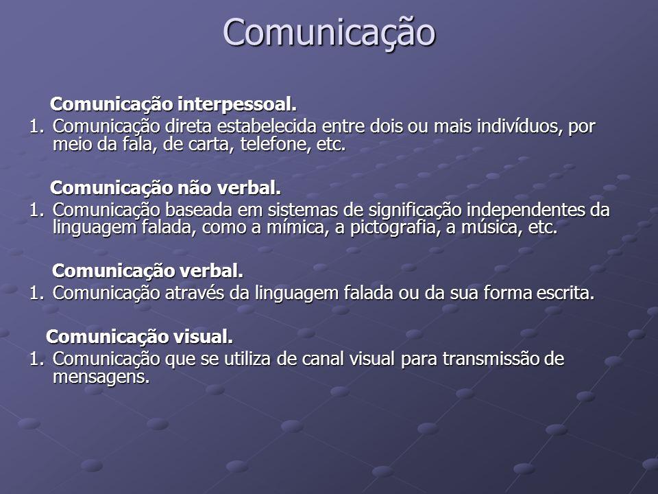 Comunicação Comunicação interpessoal. Comunicação interpessoal. 1.Comunicação direta estabelecida entre dois ou mais indivíduos, por meio da fala, de