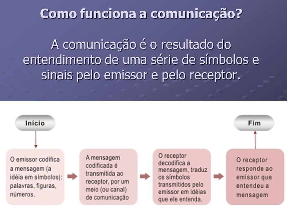 Como funciona a comunicação? A comunicação é o resultado do entendimento de uma série de símbolos e sinais pelo emissor e pelo receptor.