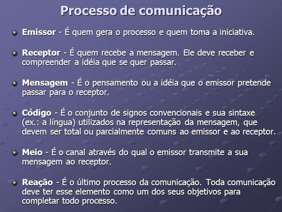 Processo de comunicação Emissor - É quem gera o processo e quem toma a iniciativa. Receptor - É quem recebe a mensagem. Ele deve receber e compreender
