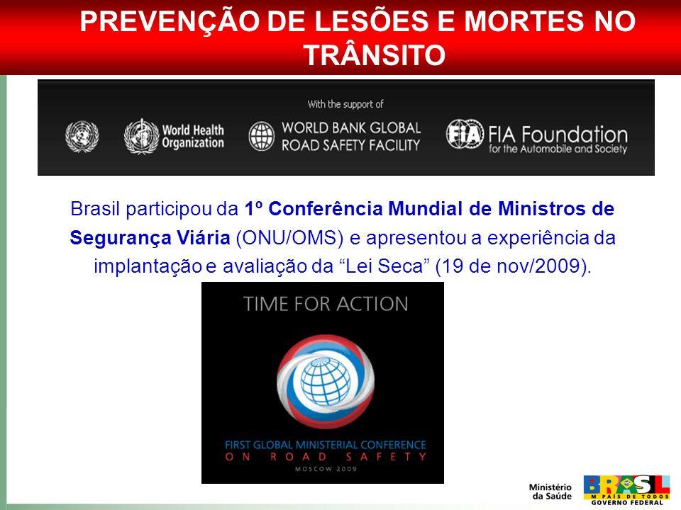 PREVENÇÃO DE LESÕES E MORTES NO TRÂNSITO Brasil participou da 1º Conferência Mundial de Ministros de Segurança Viária (ONU/OMS) e apresentou a experiê