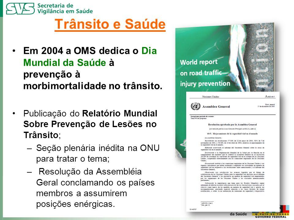 Em 2004 a OMS dedica o Dia Mundial da Saúde à prevenção à morbimortalidade no trânsito. Publicação do Relatório Mundial Sobre Prevenção de Lesões no T