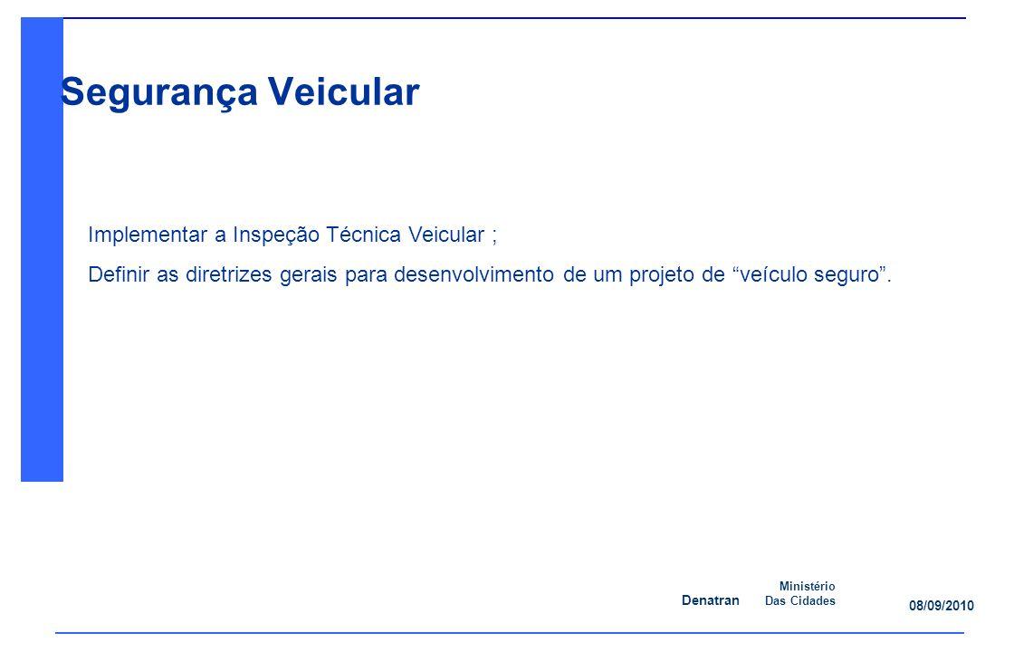 Denatran Ministério Das Cidades 08/09/2010 Segurança Veicular Implementar a Inspeção Técnica Veicular ; Definir as diretrizes gerais para desenvolvimento de um projeto de veículo seguro.