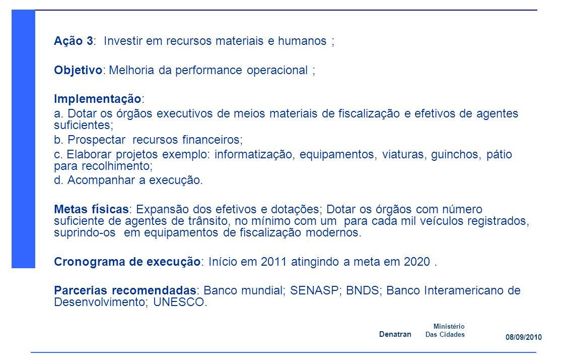 Denatran Ministério Das Cidades 08/09/2010 Ação 3: Investir em recursos materiais e humanos ; Objetivo: Melhoria da performance operacional ; Implementação: a.