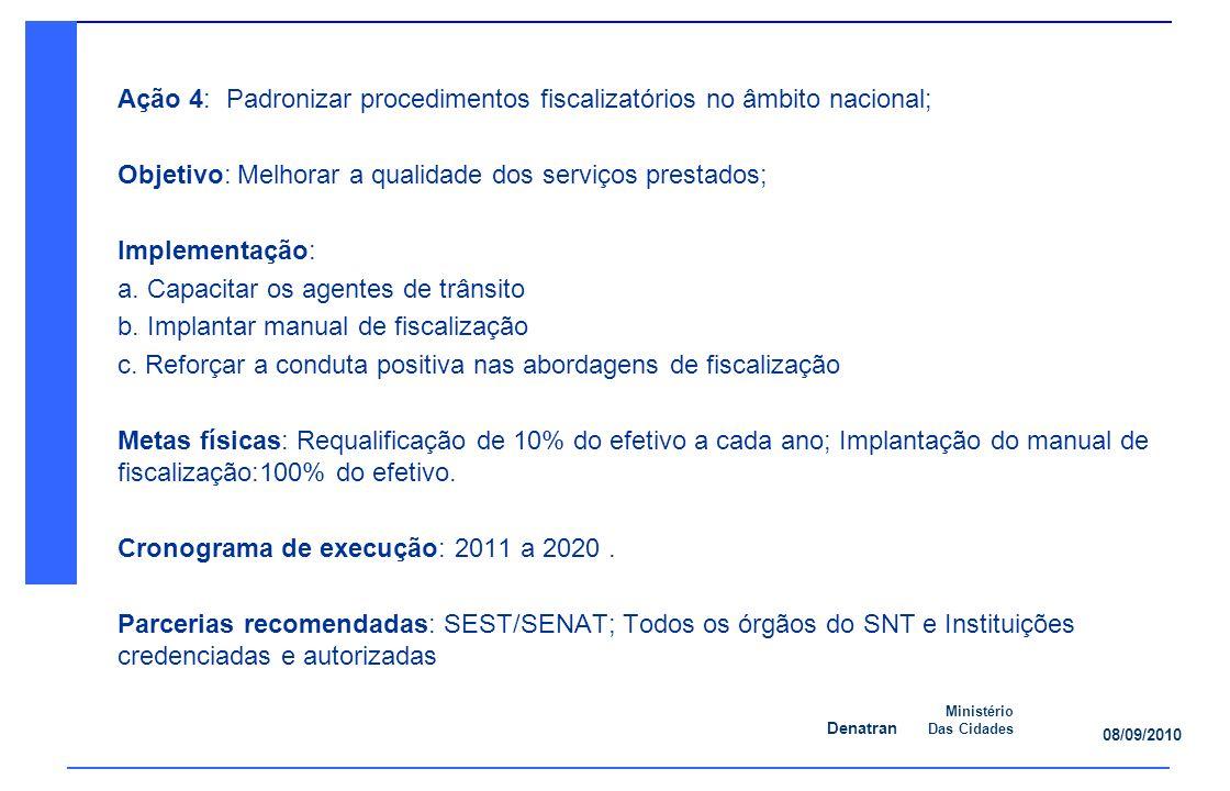 Denatran Ministério Das Cidades 08/09/2010 Ação 4: Padronizar procedimentos fiscalizatórios no âmbito nacional; Objetivo: Melhorar a qualidade dos serviços prestados; Implementação: a.