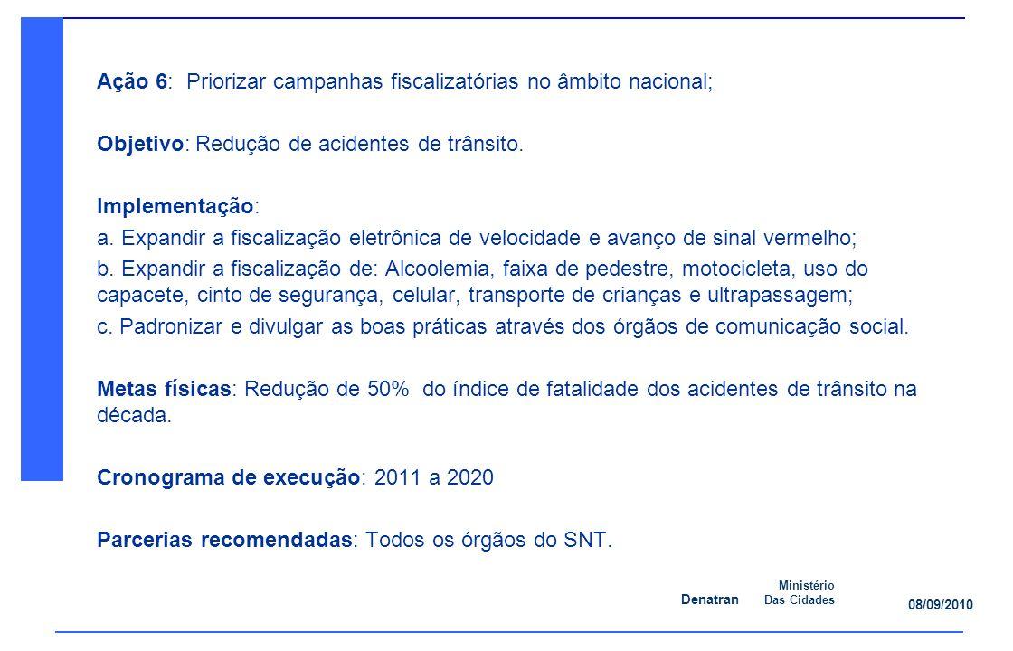 Denatran Ministério Das Cidades 08/09/2010 Ação 6: Priorizar campanhas fiscalizatórias no âmbito nacional; Objetivo: Redução de acidentes de trânsito.