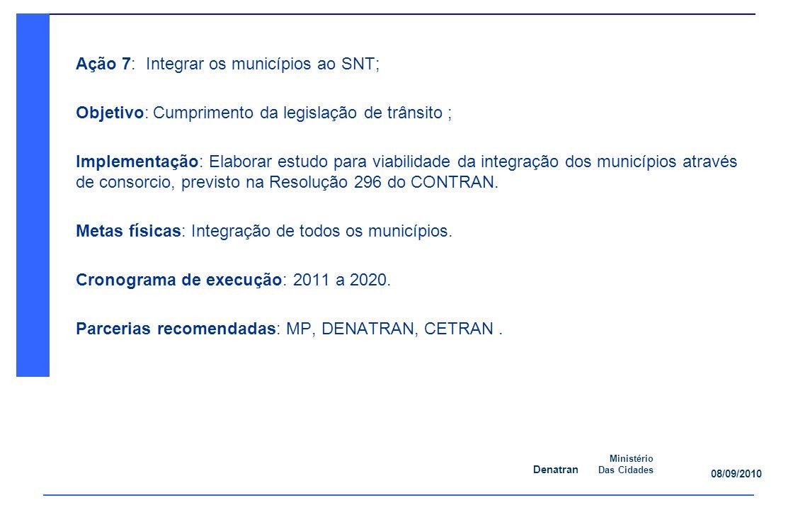 Denatran Ministério Das Cidades 08/09/2010 Ação 7: Integrar os municípios ao SNT; Objetivo: Cumprimento da legislação de trânsito ; Implementação: Elaborar estudo para viabilidade da integração dos municípios através de consorcio, previsto na Resolução 296 do CONTRAN.