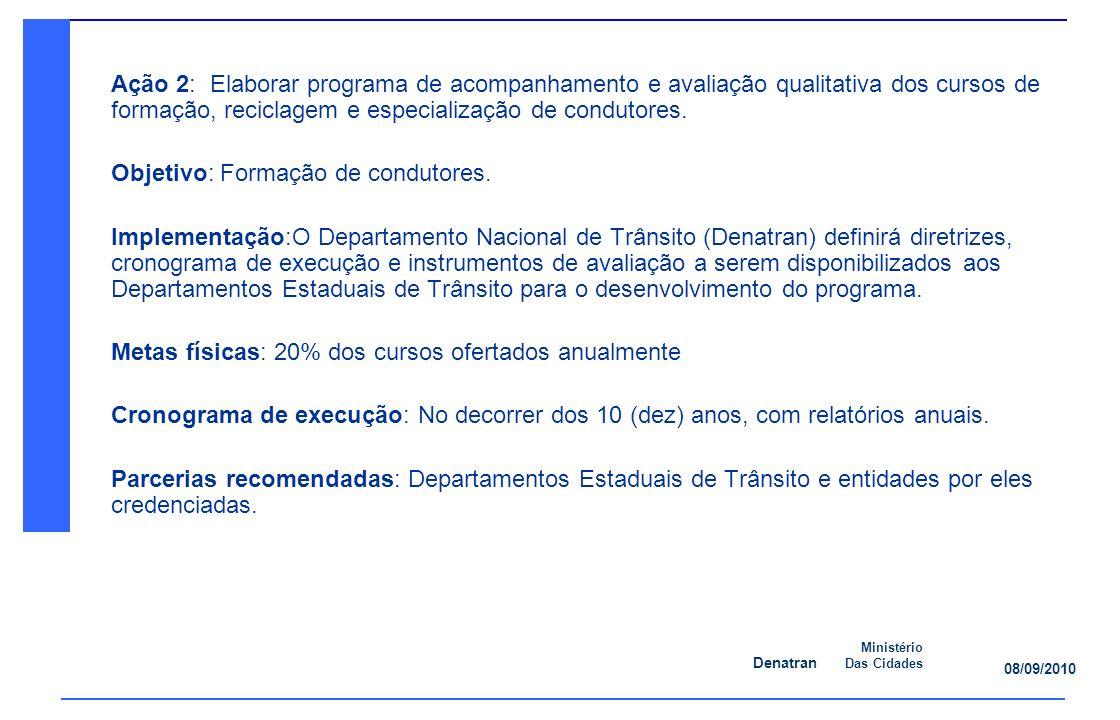 Denatran Ministério Das Cidades 08/09/2010 Ação 2: Elaborar programa de acompanhamento e avaliação qualitativa dos cursos de formação, reciclagem e especialização de condutores.