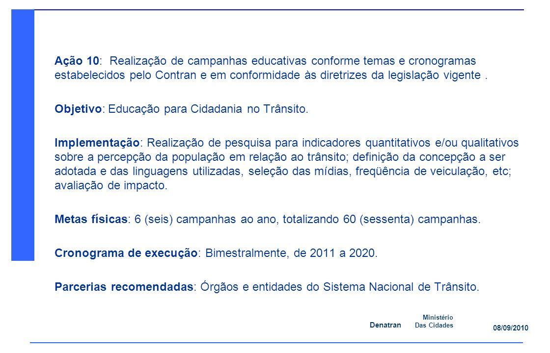 Denatran Ministério Das Cidades 08/09/2010 Ação 10: Realização de campanhas educativas conforme temas e cronogramas estabelecidos pelo Contran e em conformidade às diretrizes da legislação vigente.