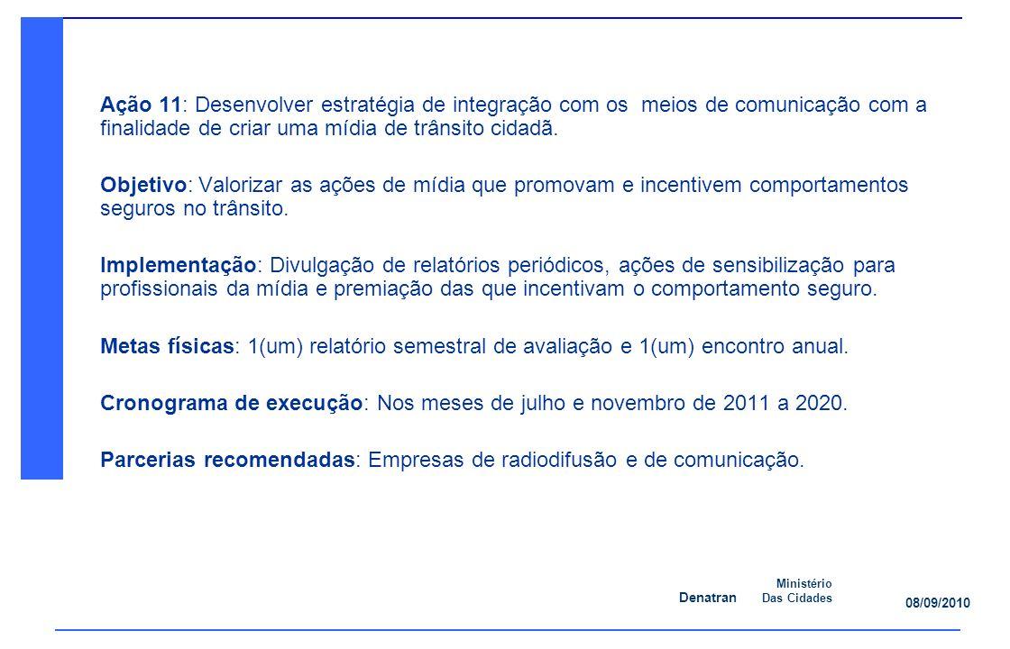 Denatran Ministério Das Cidades 08/09/2010 Ação 11: Desenvolver estratégia de integração com os meios de comunicação com a finalidade de criar uma mídia de trânsito cidadã.