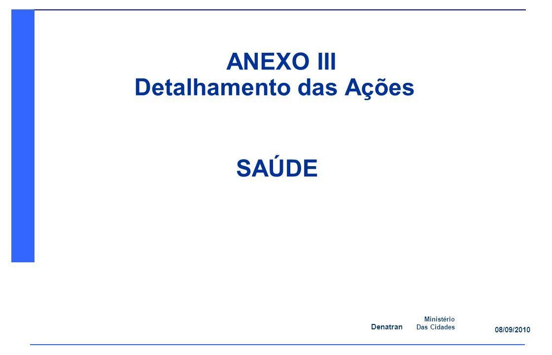 Denatran Ministério Das Cidades 08/09/2010 SAÚDE ANEXO III Detalhamento das Ações