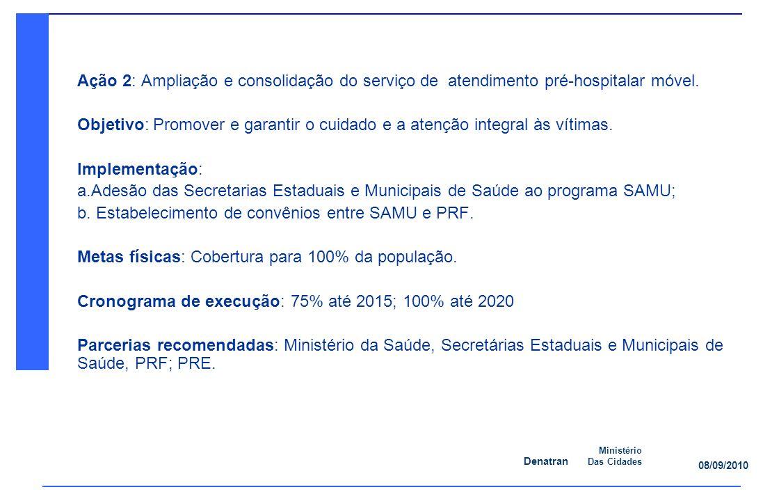 Denatran Ministério Das Cidades 08/09/2010 Ação 2: Ampliação e consolidação do serviço de atendimento pré-hospitalar móvel.