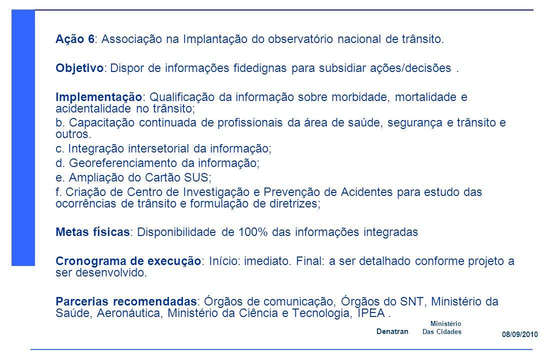 Denatran Ministério Das Cidades 08/09/2010 Ação 6: Associação na Implantação do observatório nacional de trânsito.