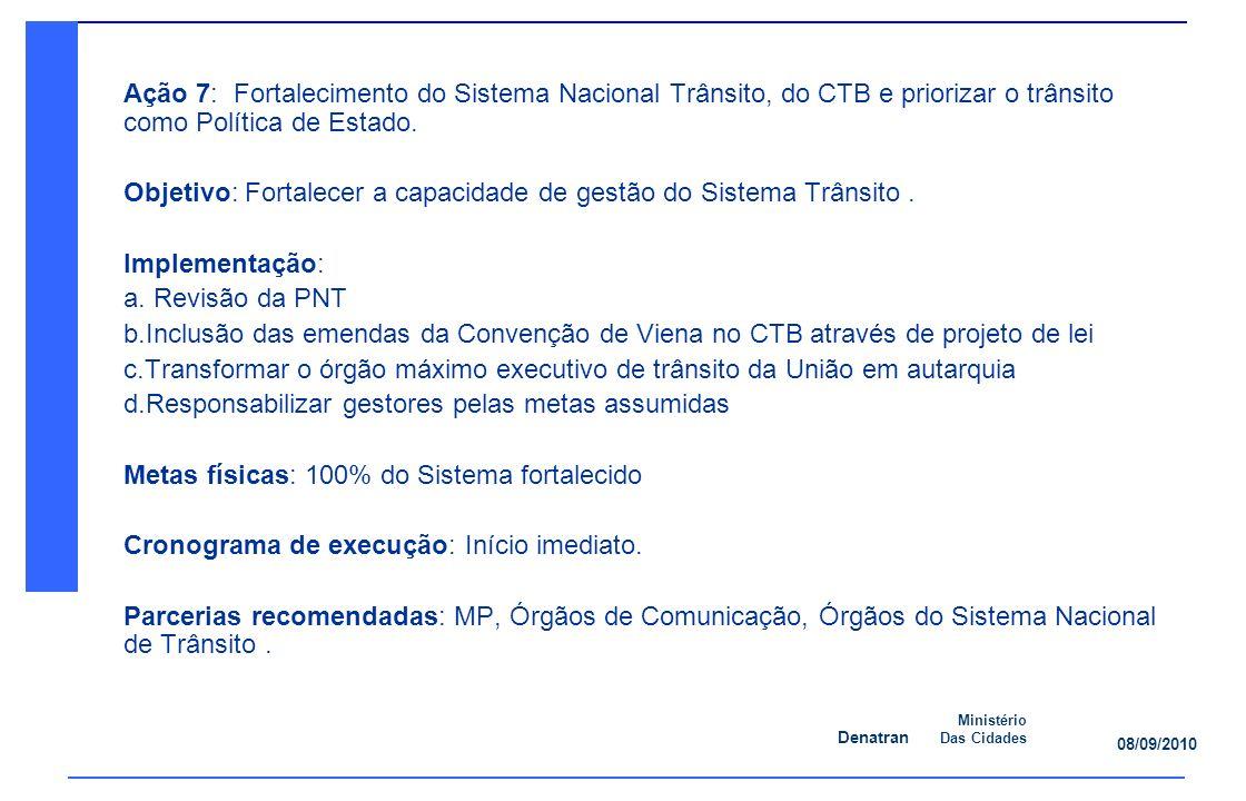 Denatran Ministério Das Cidades 08/09/2010 Ação 7: Fortalecimento do Sistema Nacional Trânsito, do CTB e priorizar o trânsito como Política de Estado.