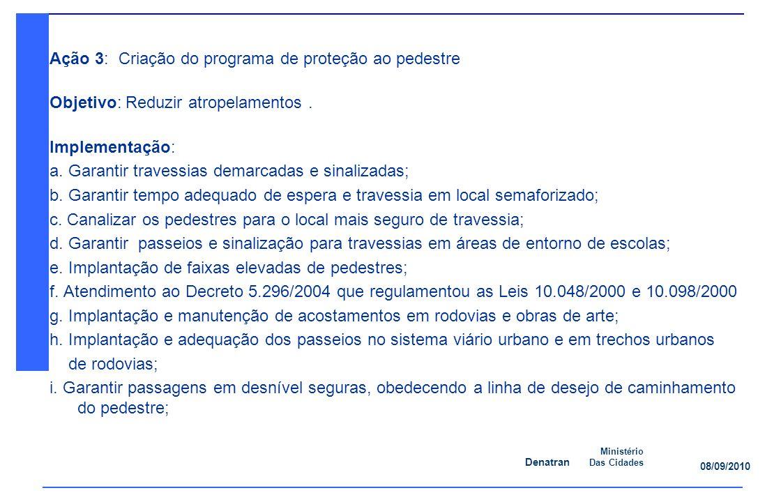 Denatran Ministério Das Cidades 08/09/2010 Ação 3: Criação do programa de proteção ao pedestre Objetivo: Reduzir atropelamentos.