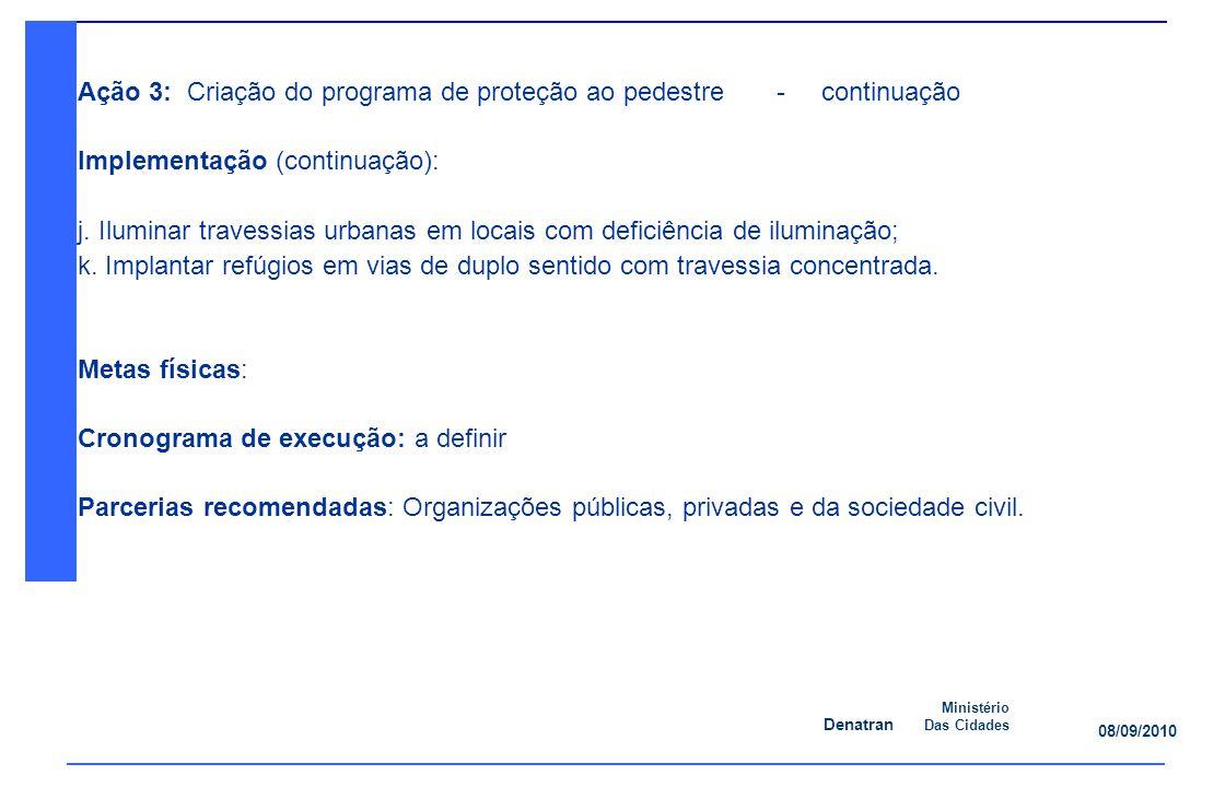 Denatran Ministério Das Cidades 08/09/2010 Ação 3: Criação do programa de proteção ao pedestre - continuação Implementação (continuação): j.