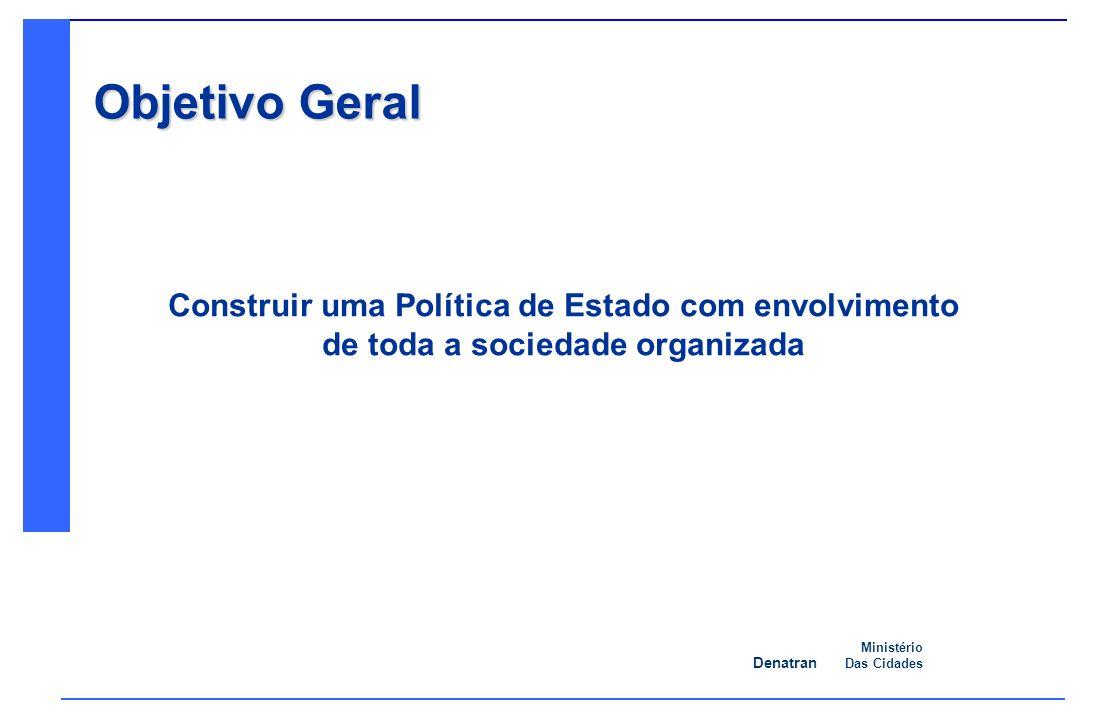 Denatran Ministério Das Cidades Objetivo Geral Construir uma Política de Estado com envolvimento de toda a sociedade organizada