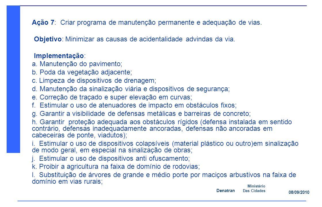 Denatran Ministério Das Cidades 08/09/2010 Ação 7: Criar programa de manutenção permanente e adequação de vias.